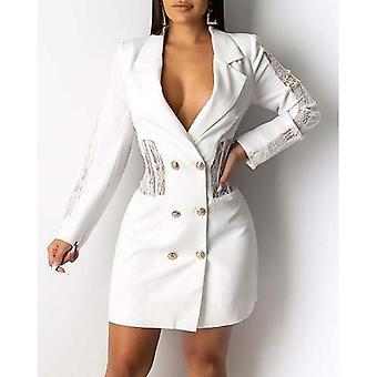 Frauen Patchwork Spitze getrimmt Blazer Kleid