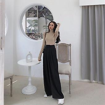 Primavera-otoño mujer sólido pierna ancha mujeres pantalones de longitud completa