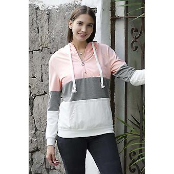 Cute Color Block Zipped Neck Hoodie