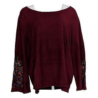 Linea door Louis Dell'Olio Women's Plus Sweater W/ Borduuren Rood A343152