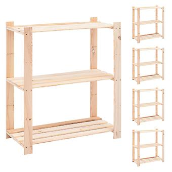 Storage shelves 3 floors 5 pcs. 80x38x90cm solid wood pine 150kg