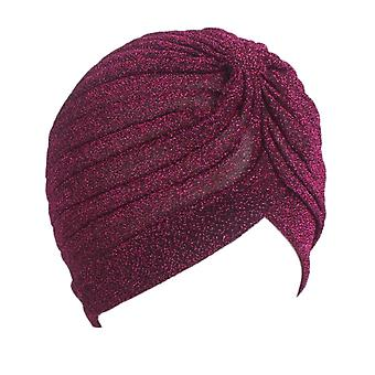 Women Shine Silver Gold Knot Twist Turban Headbands Cap & Warm Headwear Casual