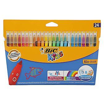 Bic kids assorted colour felt tip pens, pack 24 pack of 24 kid couleur