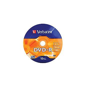 Verbatim dvd-r 4,7gb 16x 10x †pack husillo wrap plata 43729
