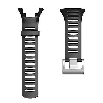 Náhradný TPE hodinový remienok so striebornou prackou pre SUUNTO AMBIT3 Čierna