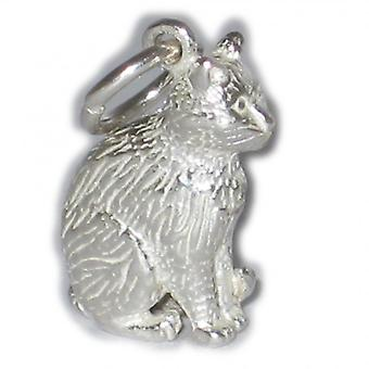 Cat Sitting Sterling Silver Charm .925 X 1 Cats Pussy Moggy Charms - 292