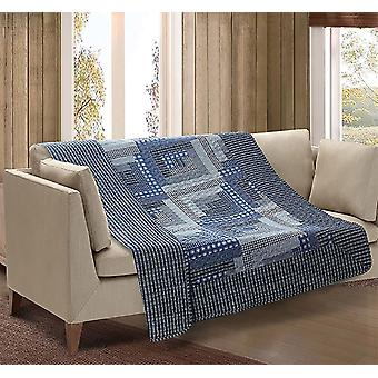 Spura Home Montana Cabin Blue & Gray Quilted Throw Blanket sofa Bed