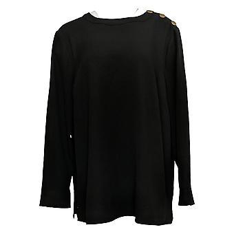 Denim & Co. Women's Plus Top Long Sleeved Detailed Black