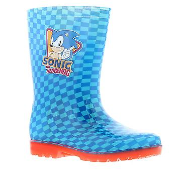 Sonic heron boys kids wellies wellington boots blue UK Size