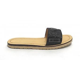 Zapatos Mujer Sabot Amor Moschino Mod. Capri 15 Cuero\ Brillo Negro Ds20mo22