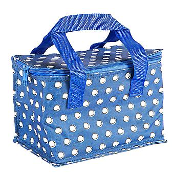 Insulated Lunch Bag Patterned Foil Lined Picnic Sandwich Box Blue Polka