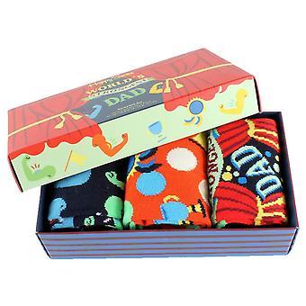 Happy Socks 3-Pack Fathers Day Gift Box Socks - Red/Orange/Navy