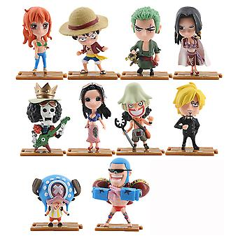 10pcs One Piece Figure Toy Sanji Zoro Luffy Mini Doll Anime Collection