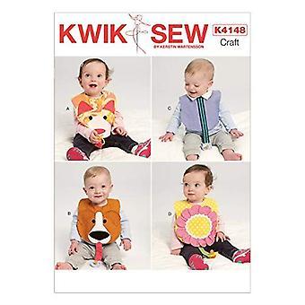 Kwik Sew Sewing Pattern 4148 Flower Dog Bibs One Size
