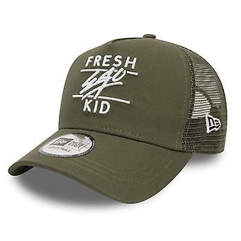 Fresh Ego Kid | Fek-557 New Era Mesh Trucker Cap - Khaki/white