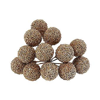 12 Wired Gold Glittered Berries for Christmas Wreaths & Floristry