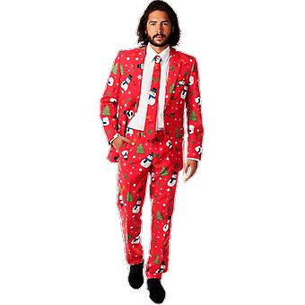 Mens Red Christmas Printed Oppo Suit Fancy Dress Party Costume