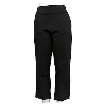 Belle By Kim Gravel Women's Cropped Pants W/ Goldtone Zipper Black A305571