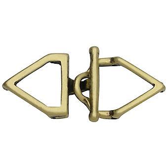 Cymbal veksle clasps for 11/0 Delica & Runde perler, Samaria, Trekant 17x36.5mm, 1 Sett, Antikk Messing Belagt