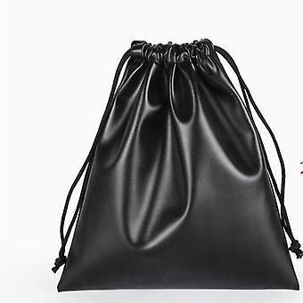 Black Leather Drawstring Box, Wedding Christmas Jewellery Bag