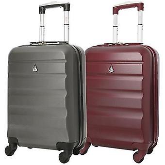 Aerolite (55x35x20cm) bagage à main léger en coque dure (ensemble x2) - charbon de bois et vin