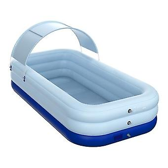Auto Inflation Swimming Pool Sun Resistant Inflatable Pool Float Raft Removable Canopy for Outdoor Backyard Water Party