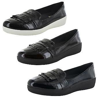 Fitflop Kvinders Fringey Sneakerloafer Patent Slip på sko