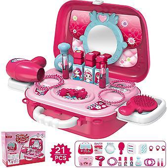 Wokex 21 PCS Kinder Make Up Set für Mädchen, Rollenspiel Spielzeug mit Prinzessin Koffer, einschließlich Schmuck Haare