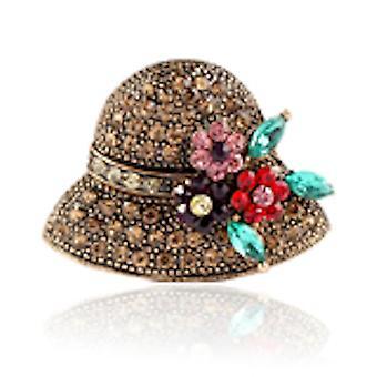 Cute Corsage Hat Ladies Brooch Rhinestone Inlaid Pearl Brooch Pin