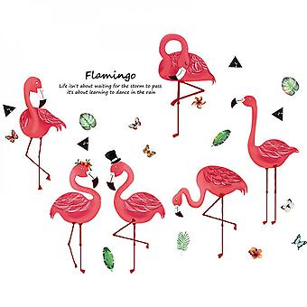 Red Flamingo Wall Sticker Home Decal (size:135cm X 73cm)
