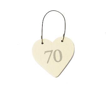 70 Mini Wooden Hanging Heart for 70th Birthday - Cracker Filler Gift