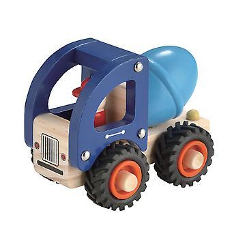 Tradicional empuje en caja a lo largo de camión de cemento de madera para niños