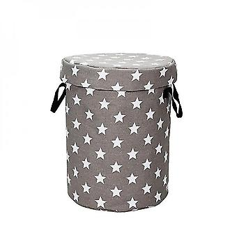 Round Cask Canvas Storage Bag Children Toys Small Household Prevent Dust Storages Bags(grey)