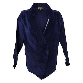 DG2 By Diane Gilman Damen Stretch Velvet Open Front Blazer Blau 680567