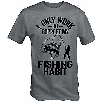 Fishing t shirts i only work to support my fishing habit funny t shirt