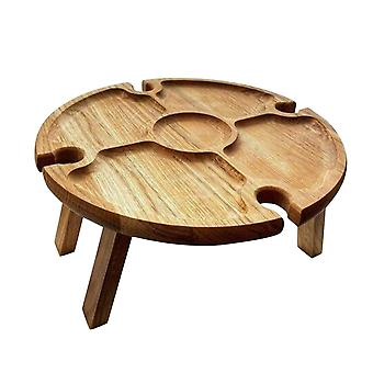 Wooden Outdoor Folding Picnic Table With Glass Holder Wine Table Wooden Table Easy To Trays