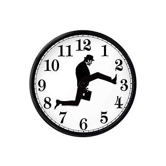 Monty Python Inspirierte Silly Walk Wanduhr Kreative Stille Stumme Uhr Wandkunst Für zu Hause Leben (schwarz Weiß)