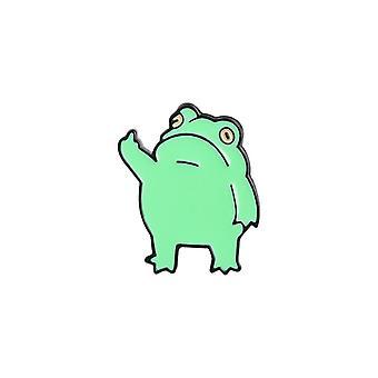 Dessin animé Creative Green Frog Animal Shape Émail Broche