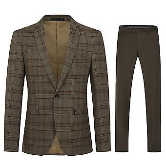 מייל Mens חליפות 2 חלקים סלים בכושר חליפה משובץ יחיד חזה הרינגבון וינטג חליפת טוקסידו רשמי ז'קט מכנסיים