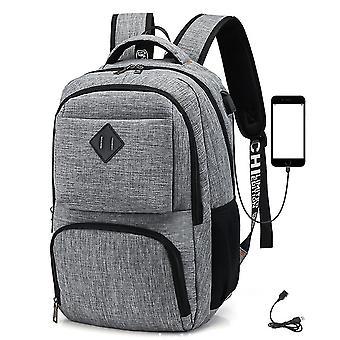 Ryggsäck Usb Charging Leisure Student School Bag (ljusgrå)