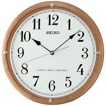 Seiko rádio controlado de relógio de parede de madeira - cara branca (QXR303Z)