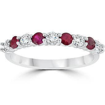 1 / 2CT Ruby & diamant vigselringen 10K vitt guld