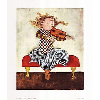 Le Violon de Juliette Poster Print by Graciela Rodo Boulanger (26 x 30)