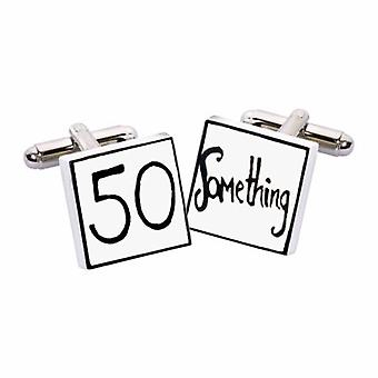 50 Something Cufflinks by Sonia Spencer, in Presentation Gift Box. Hand painted