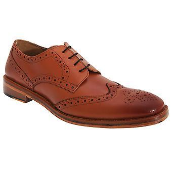Kensington Classics Mens All Leather Wing Cap Brogue Gibson Shoes