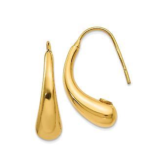 14K Yellow Gold Puffed Teardrop Hook Earrings