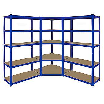 Monster T-Rax scaffalature angolo scaffale & 90cm Garage Storage Bay, blu