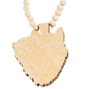 木製のスタイル ビーズのネックレス - オオカミ ベージュ