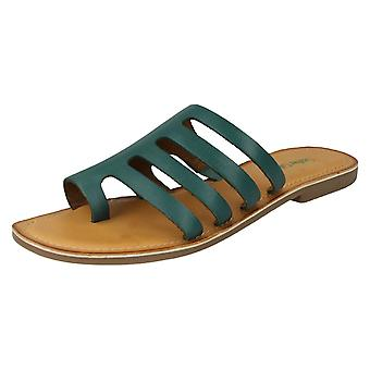 Ladies Leather Collection Flat Strappy Sandals F00125 - Green Leather - UK Size 3 - EU Size 36 - US Size 5