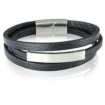 Armband leder armband magneet gesp zwart 7215 schipper